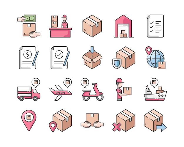 Entrega e logística conjunto de ícones