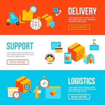 Entrega e logística web banners design templates