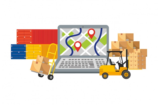 Entrega e transporte ilustração de elementos