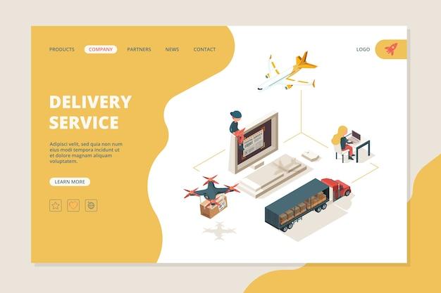 Entrega em todo o mundo. layout de página de destino de isometria de vetor de origem de transporte de armazém de entrega inteligente de drones.
