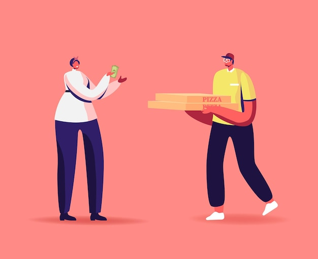 Entrega expressa de alimentos. caráter de correio entrega caixa de pizza ao consumidor em casa ou no escritório.