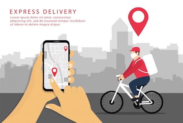 Entrega expressa. envio em smartphone. entregador em uma bicicleta em uma máscara. estilo simples.