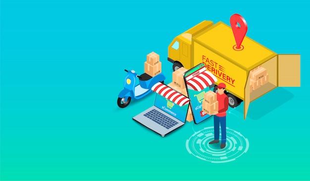 Entrega expressa pelo entregador de encomendas com scooter e caminhão pelo sistema de comércio eletrônico no smartphone e computador. design plano isométrico. ilustração