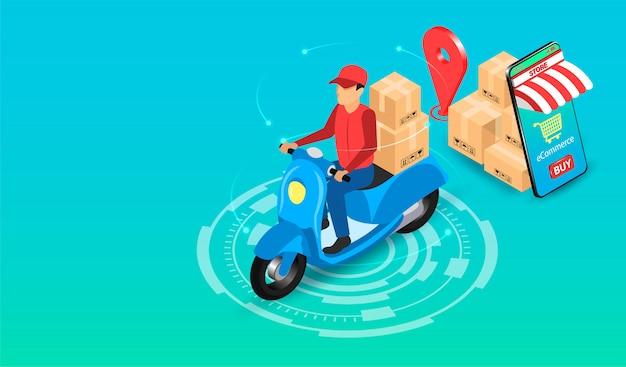 Entrega expressa pelo entregador de encomendas com scooter pelo sistema de comércio eletrônico no smartphone. design plano isométrico. ilustração