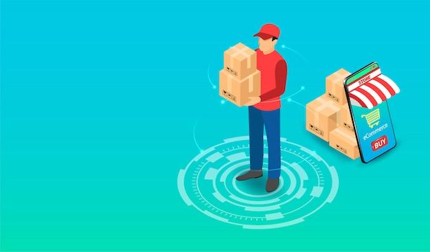 Entrega expressa pelo entregador de encomendas com sistema de comércio eletrônico no smartphone. design plano isométrico. ilustração
