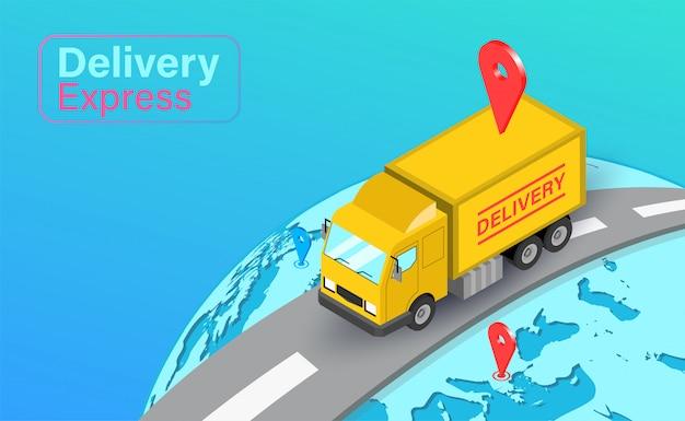 Entrega expressa por caminhão em global com sistema gps. pedido e pacote de alimentos on-line no comércio eletrônico por aplicativo. design plano isométrico.