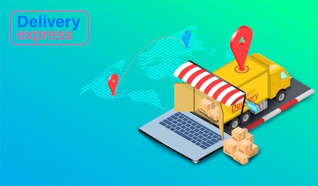 Entrega expressa por caminhão no computador portátil com gps. pedido e pacote de alimentos on-line no comércio eletrônico pelo site global. design plano isométrico.