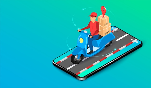 Entrega expressa por entregador de encomendas com scooter pelo sistema e-commerce em smartphone. design plano isométrico. ilustração