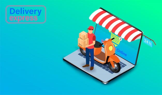 Entrega expressa por pessoa de entrega de encomendas com scooter no computador portátil. pedido e pacote on-line de alimentos no comércio eletrônico por site. design plano isométrico.
