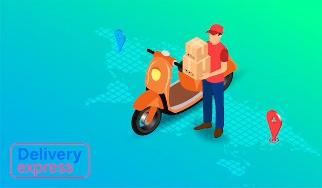Entrega expressa por pessoa de entrega de encomendas com scooter. pedido e pacote de alimentos on-line no comércio eletrônico por site. design plano isométrico.