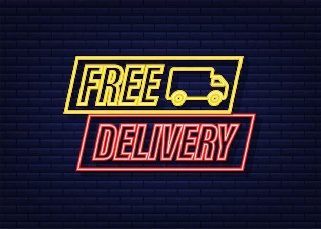 Entrega grátis. ícone de néon. crachá com caminhão. ilustração em estoque do vetor.