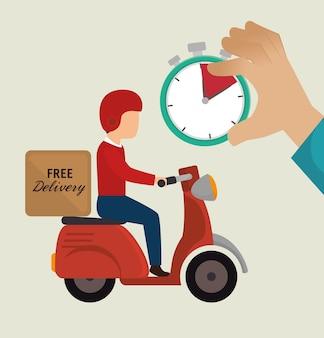 Entrega gratuita cara passeio motocicleta ícones ilustração vetorial