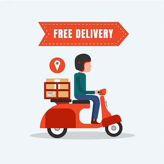 Entrega gratuita comida moto design plano