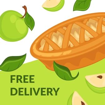 Entrega gratuita de torta de sobremesas de maçã com fatias