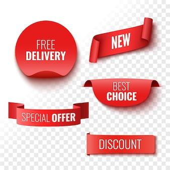 Entrega gratuita nova melhor escolha de oferta especial e banners de venda com desconto etiquetas e adesivos de fitas vermelhas ilustração vetorial