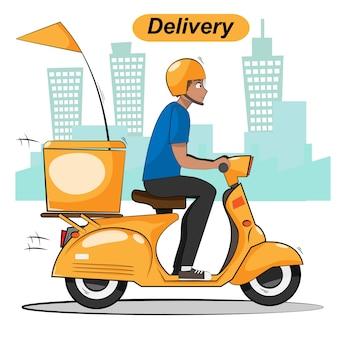 Entrega, homem, passeio, scooter, motocicleta