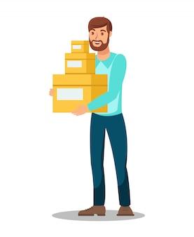 Entrega, homem, segurando, caixas, ilustração