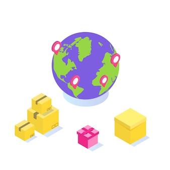 Entrega internacional em todo o mundo, logística global, conceito isométrico de transporte de mercadorias.