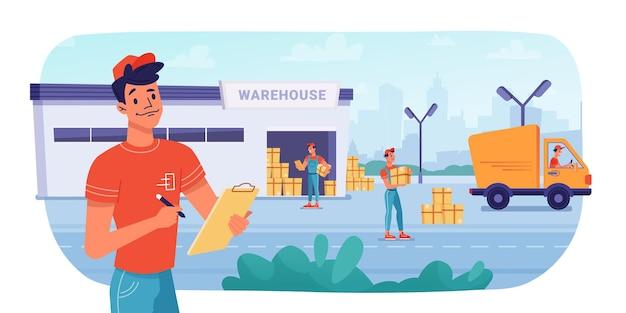 Entrega, logística, armazém, caixas de encomendas entregar