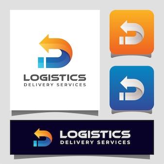 Entrega logística com letra d com logo seta para o seu negócio.