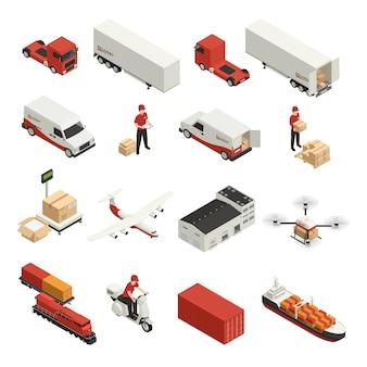 Entrega logística de ícones isométricos de transporte de carga por vários veículos e tecnologia drone