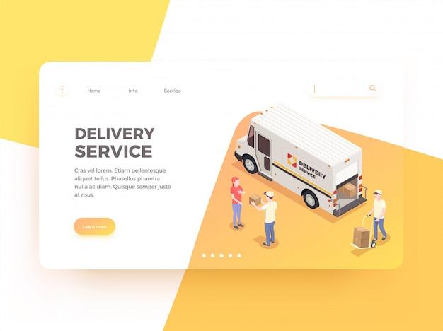 Entrega logística expedição isométrica web landing page design plano de fundo com links editáveis ilustração em texto e imagens editáveis