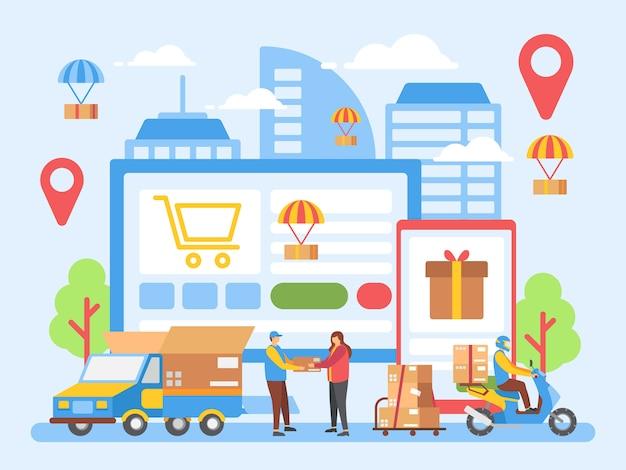 Entrega, logística, ilustração de loja on-line