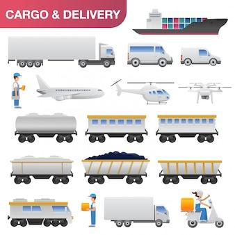 Entrega logística transporte design plano ícone definir ilustração