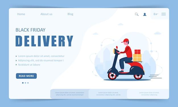 Entrega na sexta-feira negra. modelo de página de destino. scooter com correio rápido.