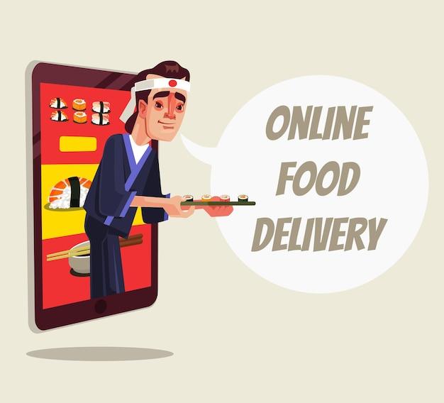 Entrega online de comida isolada personagem do chef olhando para fora do smartphone e segurando comida de sushi