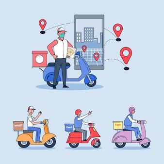 Entrega online, serviço de pedido e conjunto de ilustração de serviço de entrega