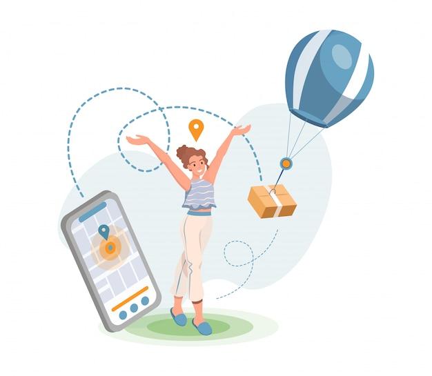 Entrega online via aplicativo móvel. serviço de transporte marítimo, conceito de compras de internet.