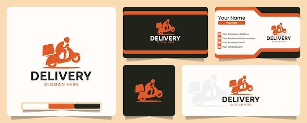 Entrega, pedido, design de logotipo e cartão de visita