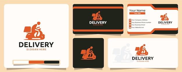 Entrega, pedido, motocicleta, design de logotipo e cartão de visita
