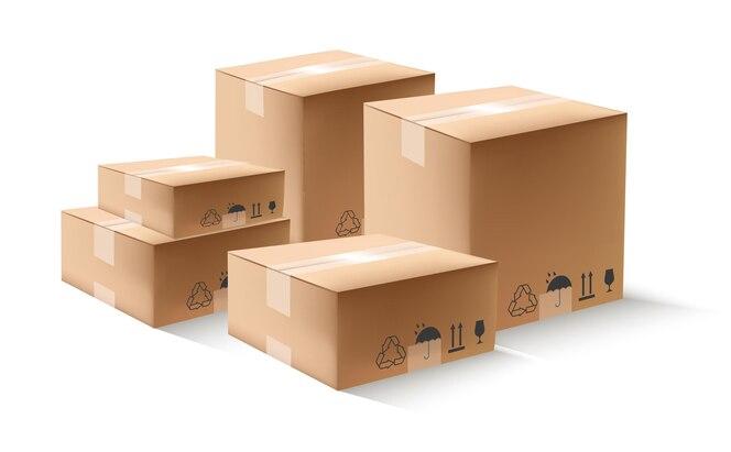 Entrega pilha de caixas de papelão