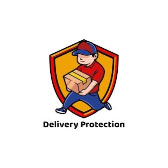 Entrega protegendo pacote de remessa para casa