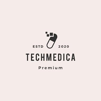 Entrega rápida cápsula logotipo tecnologia médica vector
