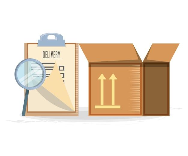 Entrega rápida com caixa de viagem vector ilustration
