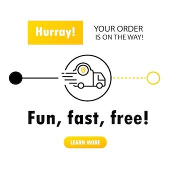 Entrega rápida da loja para casa ou conceito de serviço de entrega online, rastreamento de pedidos online.