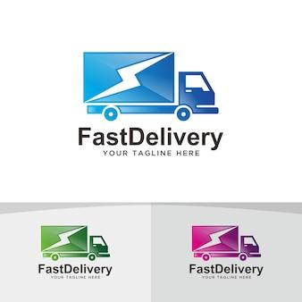 Entrega rápida de caminhões, design de logotipo logístico.