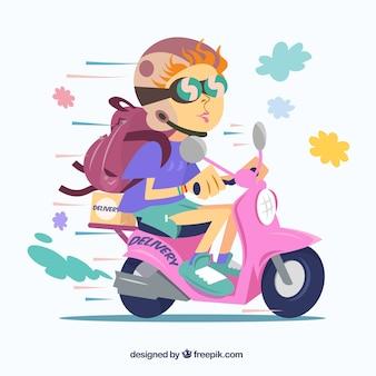 Entrega rápida de scooter com estilo divertido