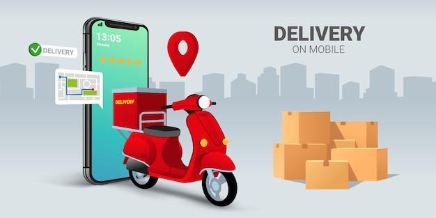 Entrega rápida de scooter no celular. conceito de comércio eletrônico. ordem de comida ou pizza on-line e infográfico de caixa de embalagem.