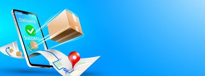 Entrega rápida do pacote de entrega no smartphone móvel