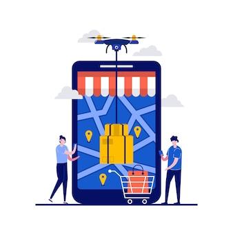 Entrega rápida e moderna por quadcopter com drone de controle de personagem.