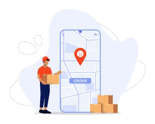 Entrega rápida no conceito de comércio eletrônico móvel on-line com comida ou pedido de pizza e infográfico de caixa de embalagem
