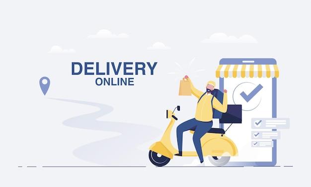 Entrega rápida por scooter no smartphone móvel. conceito de comércio eletrônico. ilustração vetorial. Vetor Premium