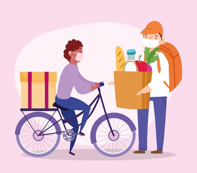 Entrega segura em casa durante o coronavírus covid-19, correio homem andando de bicicleta e outras caminhadas com o mercado de malas