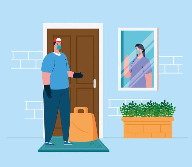 Entrega segura sem contato em casa para evitar a propagação do coronavírus, mulher na janela