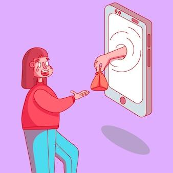 Entrega sem contato dos bens necessários, a garota recebe seu pedido. pedido de mercadorias através de um dispositivo móvel.