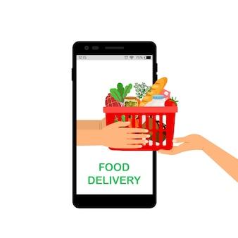 Entrega sem contato. loja de alimentos online, aplicativo móvel de supermercado. mãos segurando uma ilustração vetorial de cesta de compras